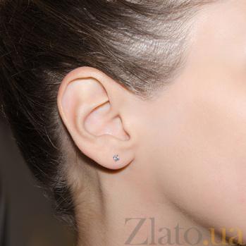 Золотая серьга-пуссета в одно ухо Светлый миг в белом цвете SVA--2602342102/Фианит/Цирконий