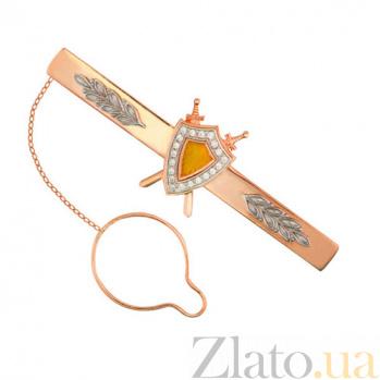 Золотой зажим для галстука Защитник с фианитами VLT--Э422-1