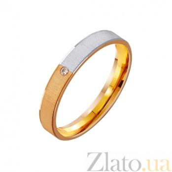 Золотое обручальное кольцо с фианитом Сияние влюбленной души TRF--412337