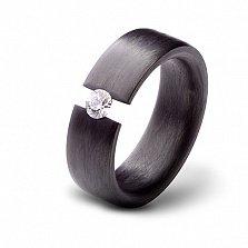 Кольцо из карбона с фианитом Мечта