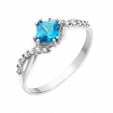 Серебряное кольцо Кассиопея с голубым и белыми фианитами