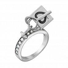 Серебряное кольцо Ключик к сердцу с фианитами