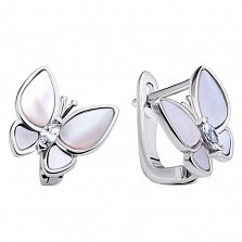 Серебряные серьги Изысканные бабочки с перламутром и фианитами