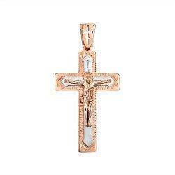 Золотой крестик в комбинированном цвете 000145478