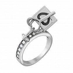 Серебряное кольцо с подвеской и фианитами 000005831