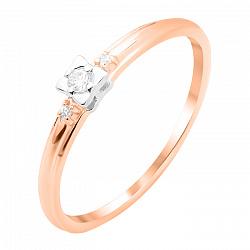 Золотое помолвочное кольцо Констанция в комбинированном цвете с белыми фианитами