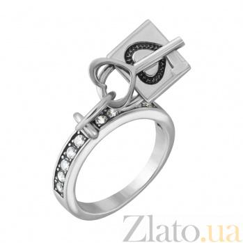 Серебряное кольцо Ключик к сердцу с фианитами  000005831