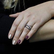 Серебряное кольцо Волны любви с черными и белыми фианитами