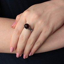Кольцо серебряное с янтарем и фианитами Аури