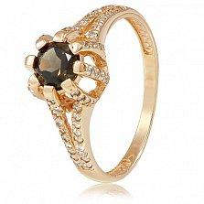 Золотое кольцо Кристина с раухтопазом и фианитами