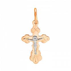 Крестик из комбинированного золота Спаси и Сохрани с насечкой