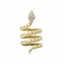 Серебряное спералевидное кольцо Змейка-искусительница в желтом цвете с разноцветными фианитами