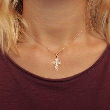 Золотой крестик Иисус Спаситель в комбинированном цвете на фигурной основе с насечками