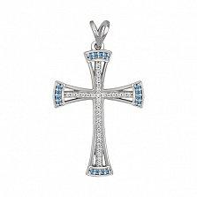 Крест из белого золота Заоблачный с сапфиром
