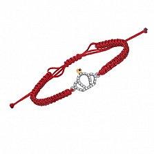 Плетеный текстильный браслет Коронация с серебряной вставкой, золотой накладкой и фианитами
