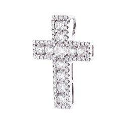 Золотой декоративный крестик в белом цвете с дорожками бриллиантов 000116518