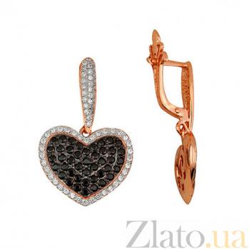 Серьги-подвески с черным цирконием Сердце Амура VLT--Т257-5