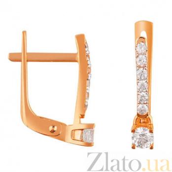 Золотые серьги с цирконием Кароль SUF--110369