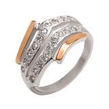 Серебряное кольцо с золотой вставкой и фианитами Галант