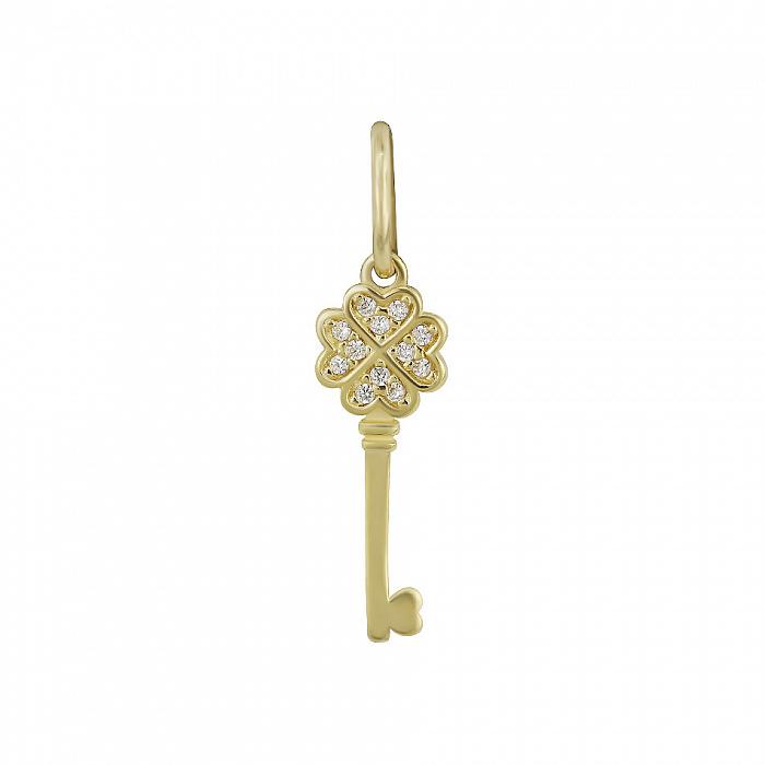 Подвес-ключик из желтого золота На удачу с фианитами 000081385