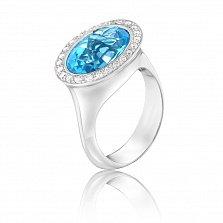 Золотое кольцо Бьянка в белом цвете с голубым топазом и бриллиантами