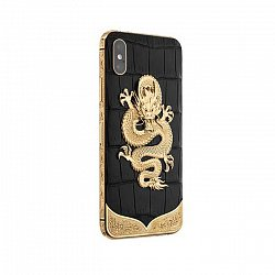 Apple IPhone XS Noblesse DRAGON Exotic edition в черной коже крокодила и изображением дракона 000118