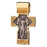Серебряный крест с позолотой и чернением Спаситель