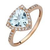 Золотое кольцо Габриэлла с голубым топазом и фианитами