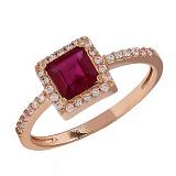 Кольцо из красного золота с рубином и фианитами Ирма