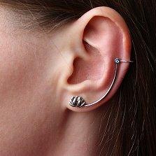 Серебряная серьга-каффа Лотос с голубым камнем на левое ухо