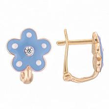 Детские золотые серьги с голубой эмалью Цветок
