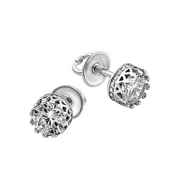 Серебряные серьги-пуссеты Королевские с цирконием