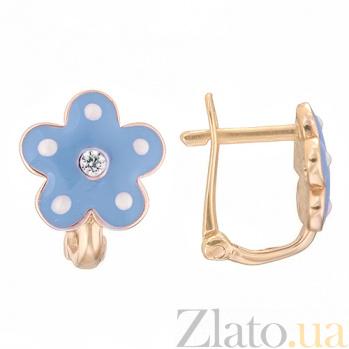 Детские золотые серьги с голубой эмалью Цветок 25246/2гол