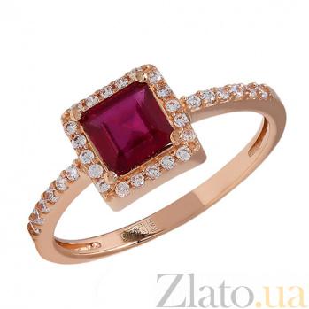 Кольцо из красного золота с рубином и фианитами Ирма 2К480-0331