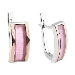 Серебряные родированные серьги с золотыми накладками и розовыми улекситами 000106751