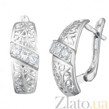 Серебряные серьги с цирконием Геларей SLX--С2Ф/115