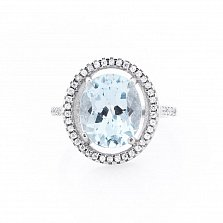 Серебряное кольцо Сесиль с топазом и фианитами