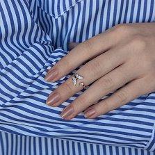 Серебряное фаланговое кольцо Порхающая бабочка в позолоте с фианитами