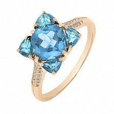 Кольцо в красном золоте Мия с голубым топазом и бриллиантами