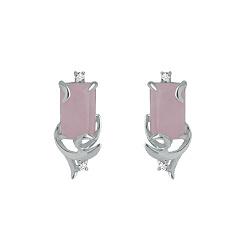 Серебряные серьги Дыхание нежности с розовым кварцем и фианитами 000058960