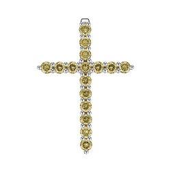 Крестик из белого золота с 16 желтыми бриллиантами 0.61ct 000145327