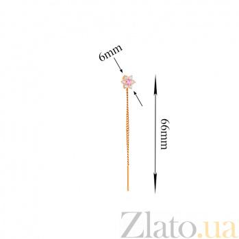 Золотые серьги-протяжки Орхидея с розовым цирконием SUF--101368р