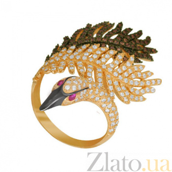 Кольцо из желтого золота Лебединая нежность с фианитами VLT--ТТТ1269