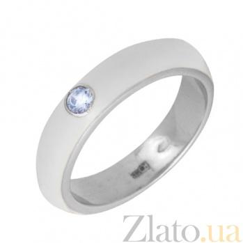 Золотое кольцо Пастель с фианитом и эмалью белого цвета К220бел/бел