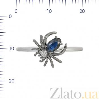 Кольцо из белого золота Паучок с сапфиром и бриллиантами 000080973