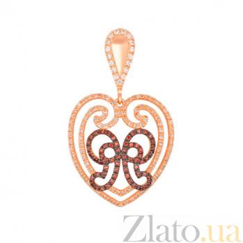 Золотая подвеска с красного золота Сердце VLT--ТТТ3476-2
