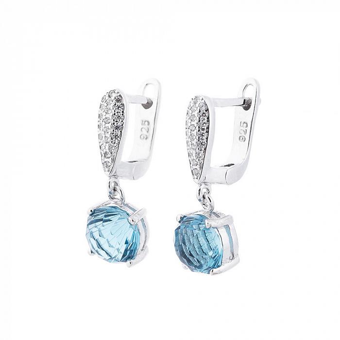 Серебряные серьги-подвески Лидия с голубым и белыми фианитами 000080201