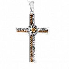 Крестик из белого золота с бриллиантами и цитринами Артемида