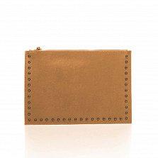 Кожаный клатч Genuine Leather 1405 коньячного цвета с короткой ручкой на запястье и плечевым ремнем