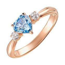 Кольцо из красного золота с голубым топазом и фианитами 000133700